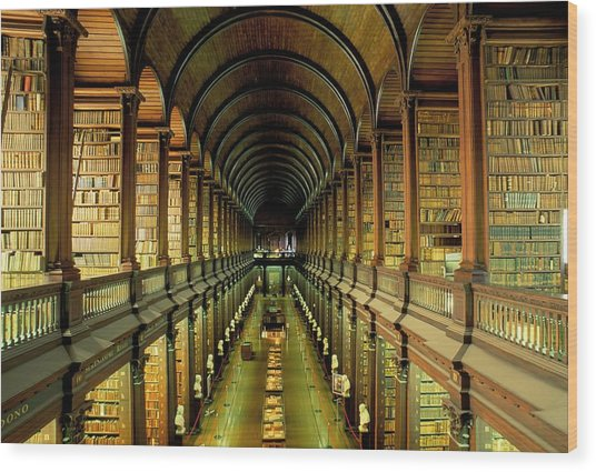 Gallery Of The Old Library, Trinity Wood Print
