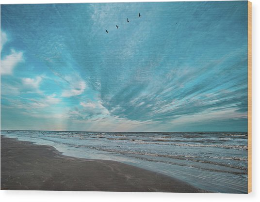 Galveston Island First Light Wood Print