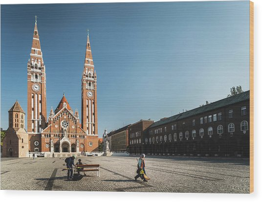 Garbage Cleaners On Dom Square In Szeged  Wood Print