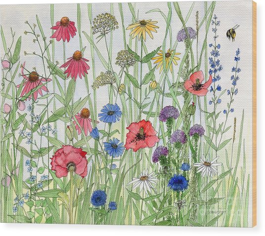 Garden Flower Medley Watercolor Wood Print
