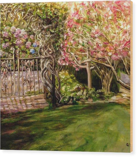 Garden Gate At Evergreen Arboretum Wood Print