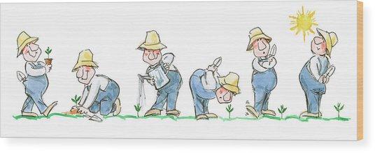 Garden Guy Planting Wood Print