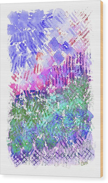 Garden Of Purple And Green Wood Print