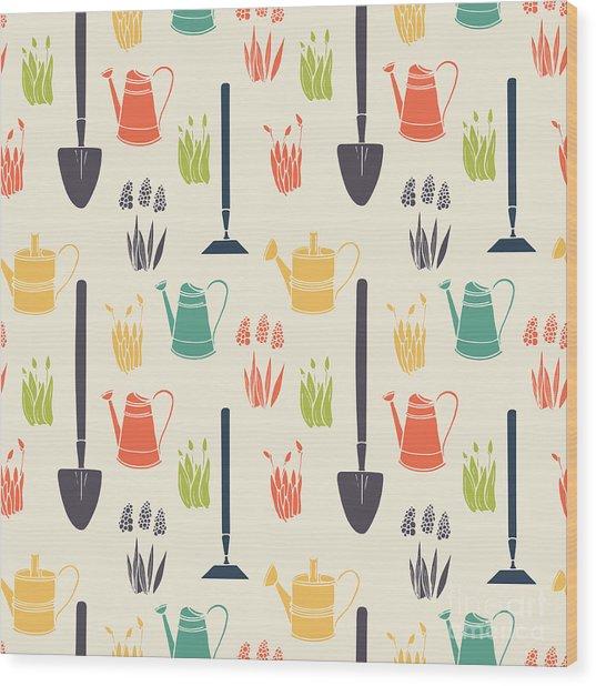 Garden Seamless Pattern Wood Print