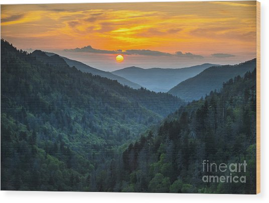 Gatlinburg Tn Great Smoky Mountains Wood Print