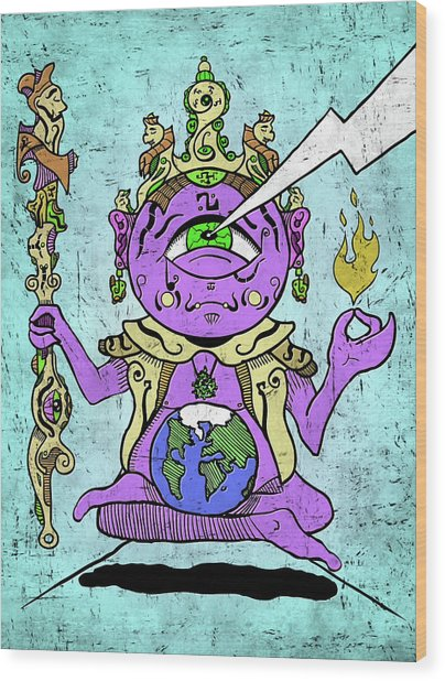 Wood Print featuring the digital art Gautama Buddha Colour Illustration by Sotuland Art