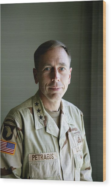 General Petraeus Charged With Wood Print by Brent Stirton