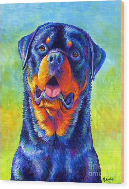 Gentle Guardian Colorful Rottweiler Dog Wood Print