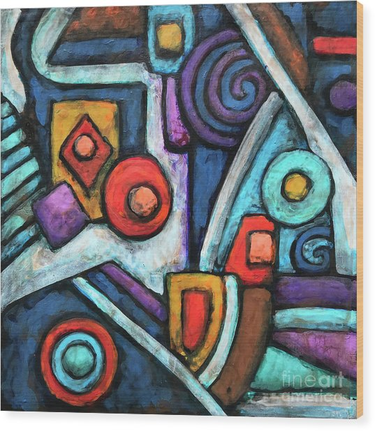 Geometric Abstract 4 Wood Print