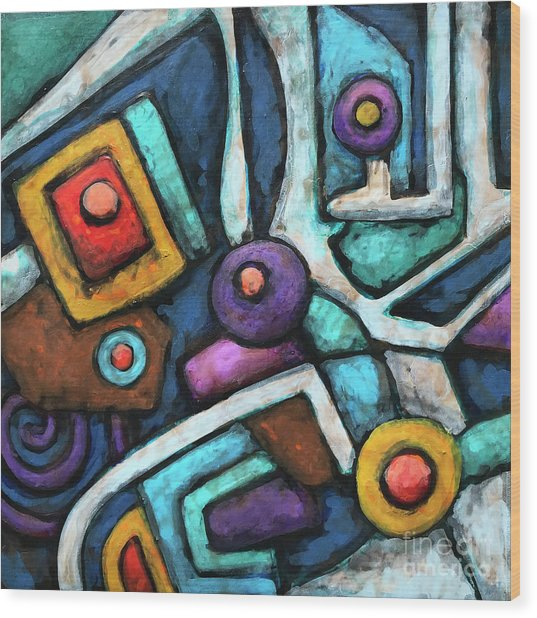 Geometric Abstract 6 Wood Print