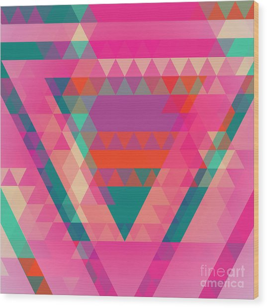 Geometric Colorful Abstract Background Wood Print