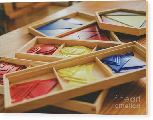 Geometric Material In Montessori Classroom For The Learning Of Children In Mathematics Area. Wood Print
