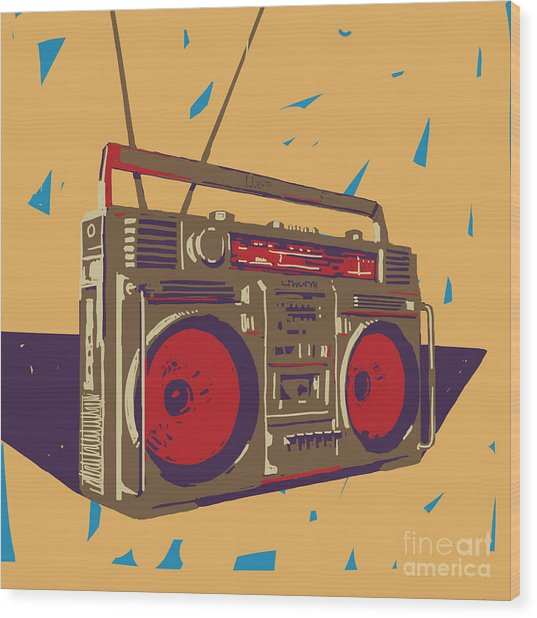 Ghetto Blaster Boombox Graphic Wood Print by Iz Stock Works