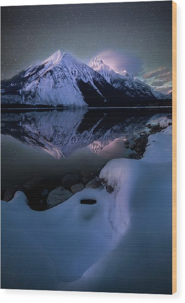 Ghost In The Darkness / Lake Mcdonald, Glacier National Park  Wood Print