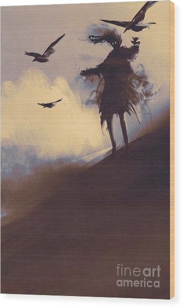 Ghost With Flying Crows In The Wood Print