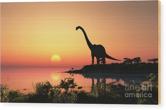 Giant Dinosaur In The Background Of The Wood Print