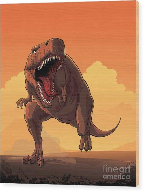 Giant Prehistoric Monster Of Dinosaur Wood Print
