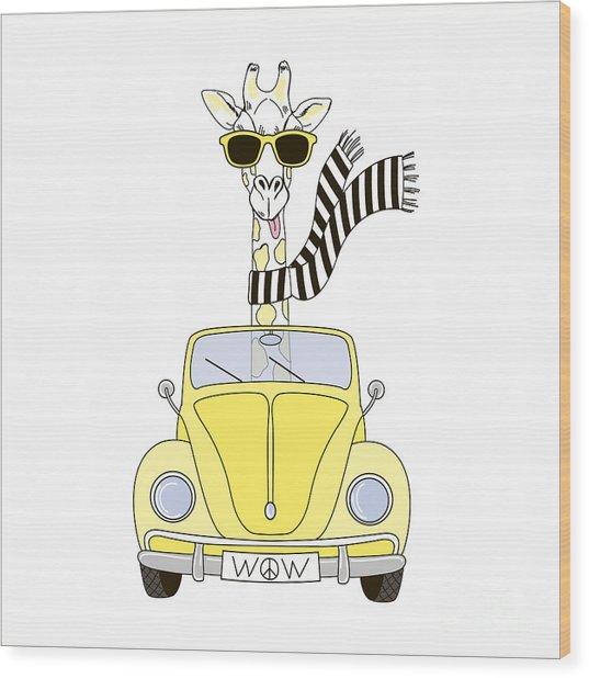 Giraffe In Sunglasses And Striped Scarf Wood Print