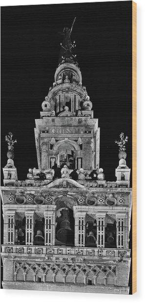 Giralda Tower In Monochrome. Seville Wood Print