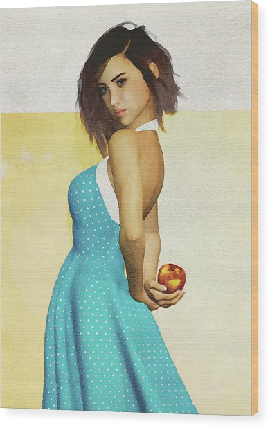 Wood Print featuring the digital art Girl Holding An Apple by Jan Keteleer