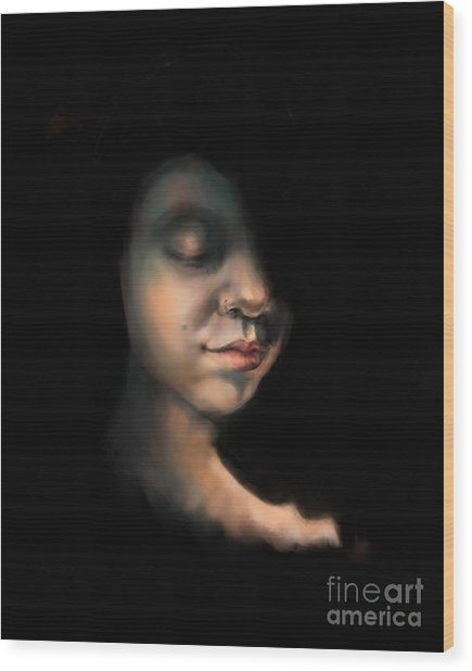 Girl In Golden Twilight Wood Print