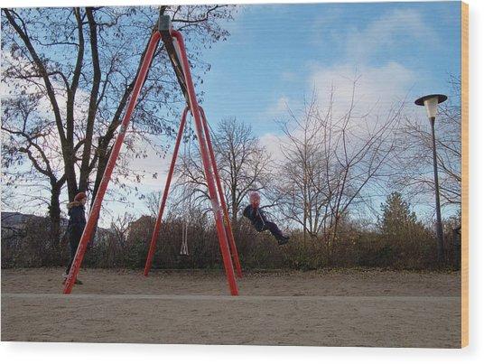 Girl On Swing Wood Print