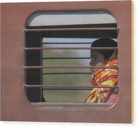 Girl On Train Wood Print