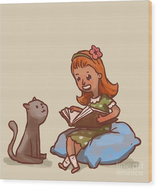 Girl Reads Book To Cat, Vector Wood Print