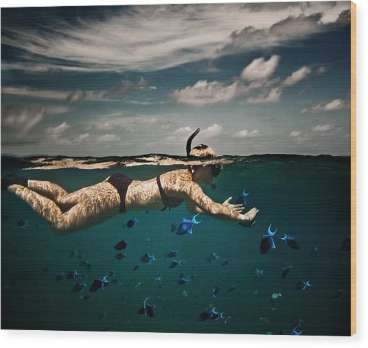 Girl Snorkelling In Indian Ocean Wood Print