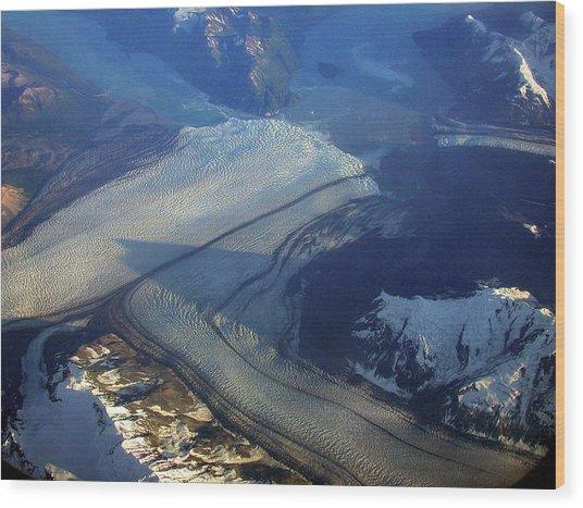 Glaciers Converge Wood Print