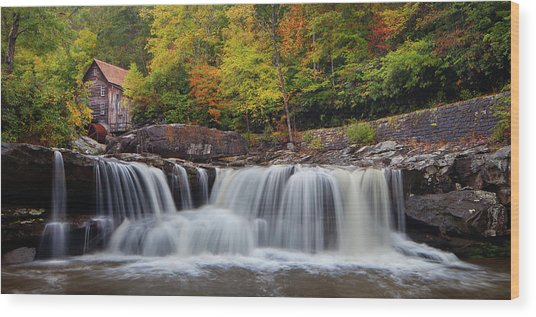 Glade Creek Grist Mill And Cascade Wood Print