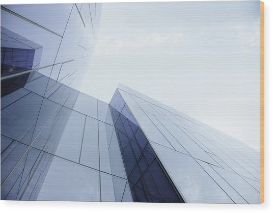 Glass And Steel Office Building Wood Print