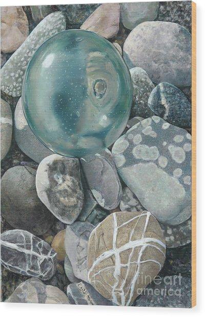 Glass Float And Beach Rocks Wood Print