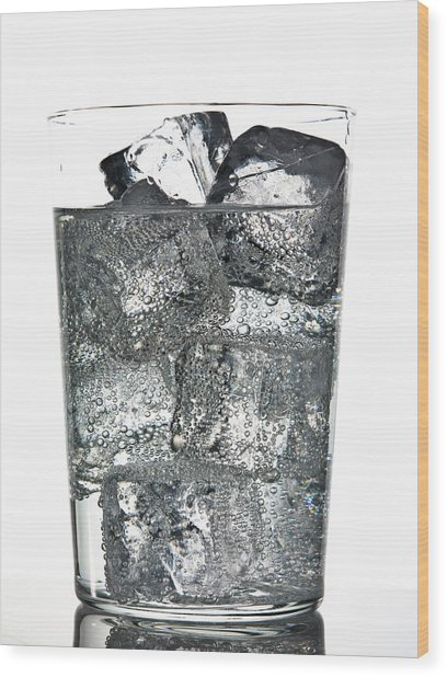 Glass Of Ice Cubes In Fizzy Drink Wood Print by Walter Zerla