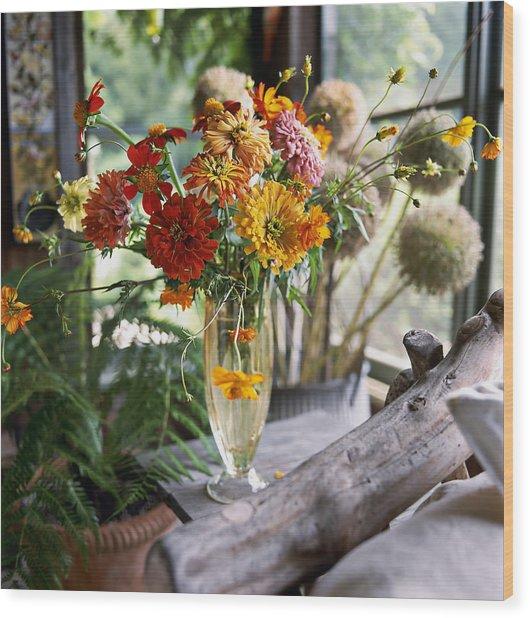 Glass Vase Of Zinnias Zinnia And Wood Print