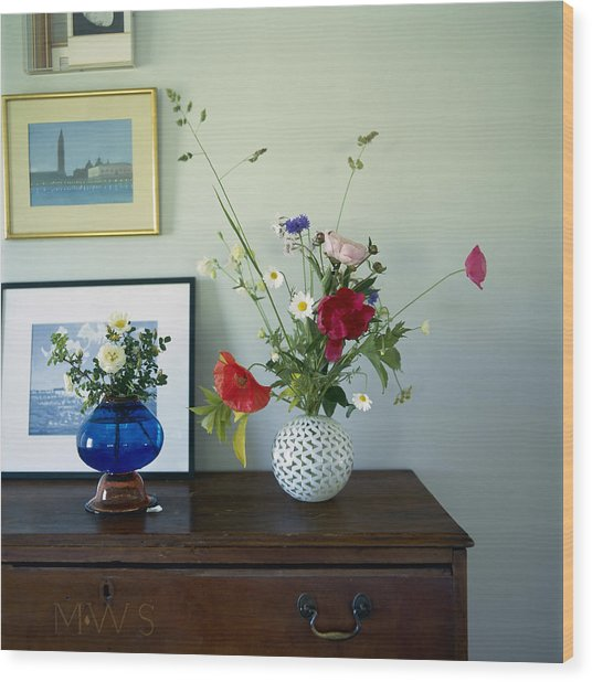 Glass Vases Of Rose Rosa And Wood Print