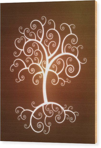 Glowing Tree With Roots Wood Print by Chad Baker