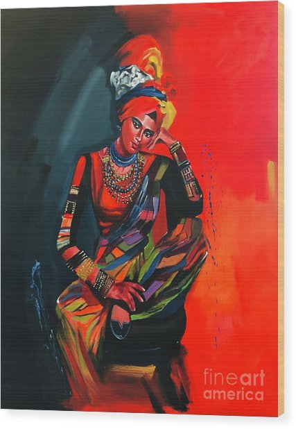 Wood Print featuring the painting Goddess Of Colors by Nizar MacNojia