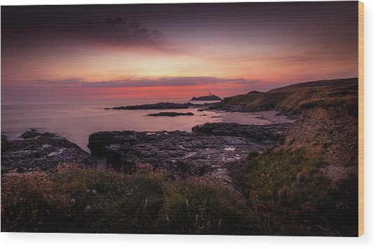 Godrevy Sunset - Cornwall Wood Print