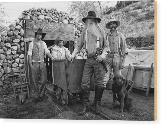 Gold Miners In Front Of A Mine Shaft Wood Print