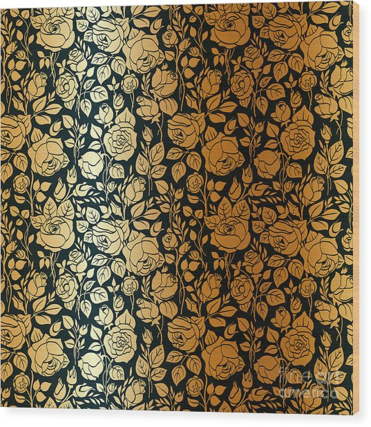Gold Vintage Seamless Pattern With Wood Print