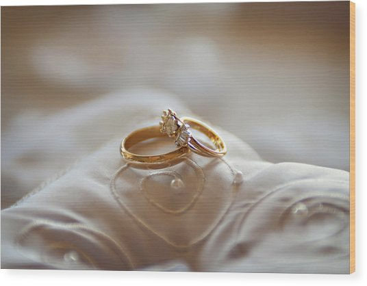 Gold Wedding Rings On A Pillow Wood Print by Driendl Group