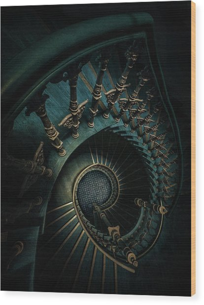 Golden And Blue Staircase Wood Print