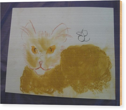 Wood Print featuring the drawing Golden Cat by AJ Brown