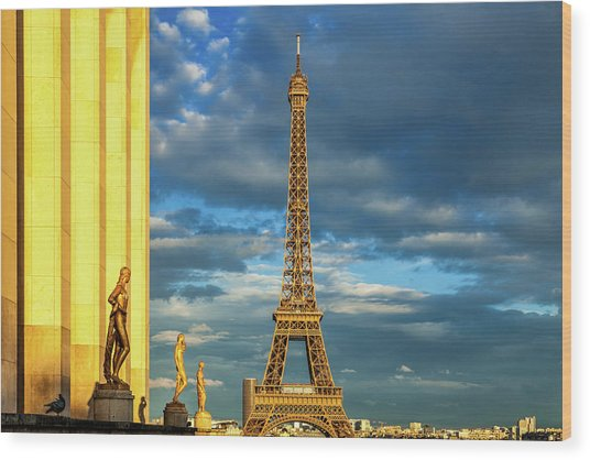 Golden Eiffel Tower Wood Print by Andrew Soundarajan
