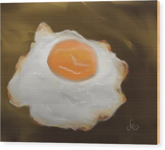 Wood Print featuring the pastel Golden Fried Egg by Fe Jones