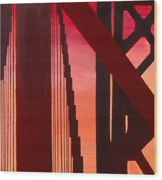Wood Print featuring the painting Golden Gate Art Deco Masterpiece by Rene Capone