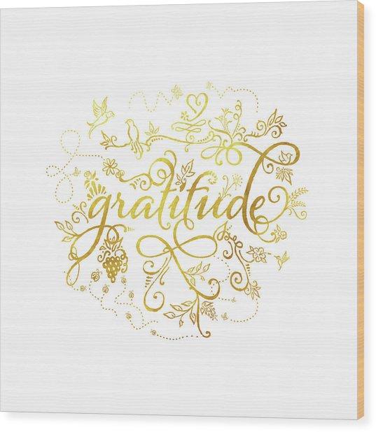 Golden Gratitude Wood Print