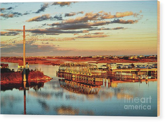 Golden Hour Bridge Wood Print