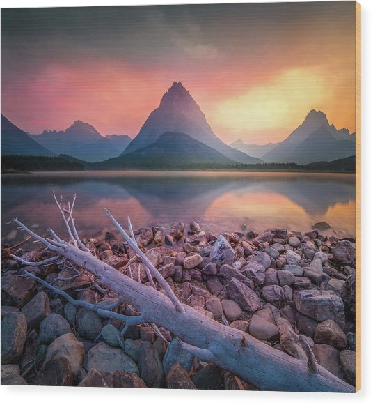 Golden Hour / Many Glacier, Glacier National Park  Wood Print